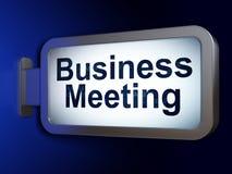 企业概念:关于广告牌背景的业务会议 图库摄影
