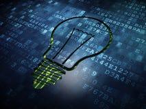 企业概念:在数字式屏幕背景的电灯泡 库存图片