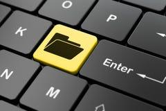 企业概念:在键盘背景的文件夹 免版税库存图片