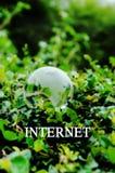 企业概念:在绿色背景的时间TOINTERNET词 免版税库存照片