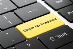 企业概念:招徕在键盘背景的事务 免版税库存图片