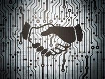 企业概念:有握手的电路板 库存照片