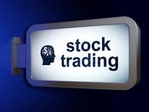 企业概念:股票交易和头有财务标志的在广告牌背景 库存照片