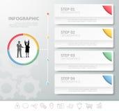 4企业模板的步infographic模板 免版税库存图片