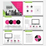 企业模板设计集合介绍和小册子年终报告,与infographic元素的飞行物页 向量例证