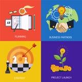 企业横幅 商务伙伴、战略、项目的计划和发射 平的传染媒介 向量例证