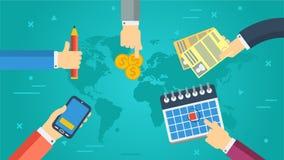企业横幅-成功的合作 皇族释放例证
