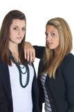 企业欧洲女孩青少年二个年轻人 免版税库存照片
