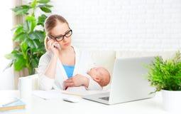 企业母亲通过有新出生的婴孩的互联网在家工作 免版税库存图片