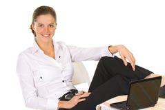 企业沉思纵向微笑的妇女 免版税图库摄影
