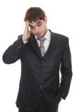 企业沮丧的人纵向哀伤疲乏 免版税库存照片