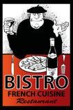 企业法国餐馆海报 库存照片