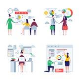 企业特大人民 男性和女性办公室经理主任工作者企业队传染媒介平的字符 向量例证