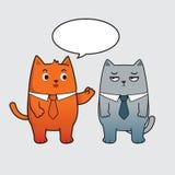 企业猫谈的漫画人物 免版税库存照片