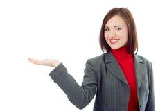 企业现有量妇女的暂挂掌上型计算机 免版税库存照片