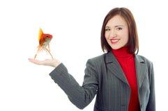企业现有量妇女的暂挂掌上型计算机 库存照片