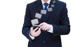 企业现有量暂挂移动电话屏幕接触 库存图片