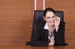 企业玻璃微笑妇女 免版税图库摄影
