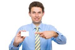 企业生意人看板卡他的显示年轻人 免版税库存图片