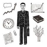 企业生意人财务图标集 免版税库存图片