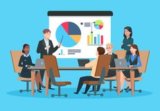 企业生意人cmputer服务台膝上型计算机会议微笑的联系与使用妇女 介绍会议的平的人 在infographic项目的战略的商人 队研讨会 库存例证