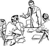 企业生意人cmputer服务台膝上型计算机会议微笑的联系与使用妇女 皇族释放例证