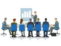 企业生意人cmputer服务台膝上型计算机会议微笑的联系与使用妇女 图库摄影