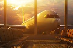 企业由飞机、离开或者到来概念的航空旅行 免版税图库摄影