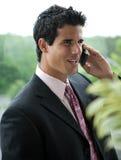 企业电池英俊的人电话 免版税库存照片