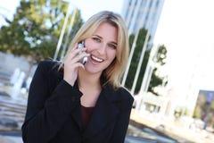 企业电话俏丽的妇女 免版税图库摄影