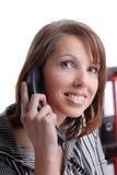 企业电话微笑的妇女 免版税库存照片