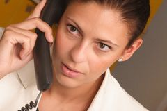 企业电话白人妇女 免版税库存照片