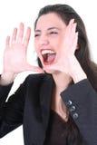 企业疯狂的叫喊的妇女 免版税库存照片