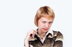 企业白人妇女年轻人 图库摄影