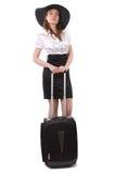 企业皮箱等待的妇女 免版税库存图片