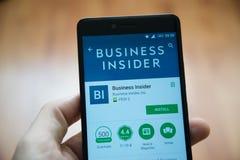 企业知情人应用在谷歌戏剧商店 免版税库存图片