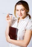 企业确信的逗人喜爱的一个聪明的妇女年轻人 免版税库存图片