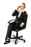 企业移动电话成功的联系的妇女 免版税库存照片