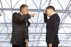 企业竞争,冲突概念 免版税库存照片