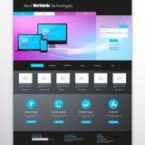 企业简单网站的模板-主页设计-干净和-导航例证 免版税库存照片