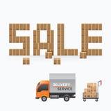 企业箱子销售形状模板设计 运输交付shoppi 库存例证