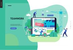企业系列-配合和合作网模板 皇族释放例证