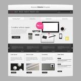企业网站模板与现实静物画例证,片剂,咖啡,笔记本的传染媒介设计 免版税库存图片