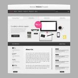 企业网站模板与现实静物画例证,片剂,咖啡,笔记本的传染媒介设计 图库摄影