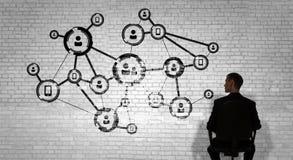 企业网络和连接概念 3d翻译 免版税库存照片