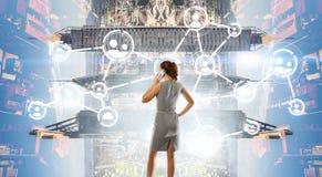 企业网络和连接概念 3d翻译 免版税库存图片