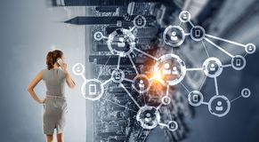 企业网络和连接概念 3d翻译 库存图片