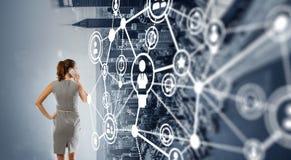 企业网络和连接概念 3d翻译 免版税图库摄影