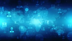 企业网络概念背景,商人互相连接了,技术背景 免版税库存照片