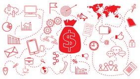 企业网络设计模板的财政计划概念 图库摄影